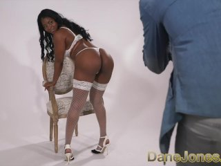 Dane Jones Black British glamour model fucks horny big dick photographer