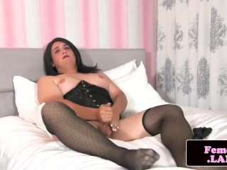 Chubby femboy teases her tight asshole