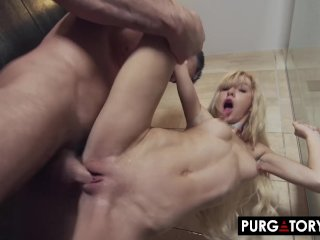 PURGATORYX Fucking a hot MILF and her tiny stepdaughter