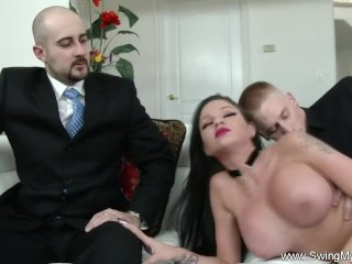 Raven Haired Rides Cock On Couch