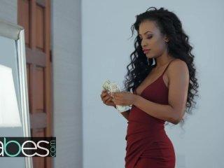 Cheating Husband Rubs His Ebony Neighbor Under The Table - Babes