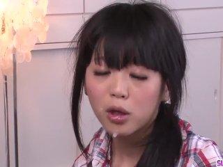 Riisa Minami sucks cock in POV then swallows – More at Slurpjp com