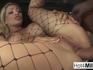 Busty MILF gets analized by a white and a black dick