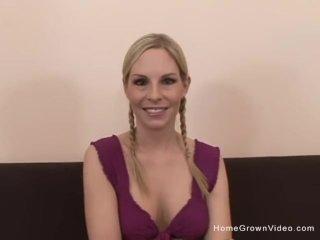 Beautiful blonde amateur deepthroating a big cock