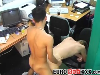 Blond twinky takes big dick during working hours