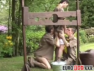 Outdoor anal threesome with skinny twink boy scouts