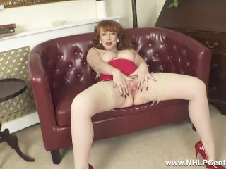 Busty redhead finger fucks wet pussy in retro look nylons girdle high heels