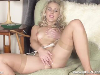 'Blonde babe Aston Wilde in just garters nylons fingers sweet juicy pussy'
