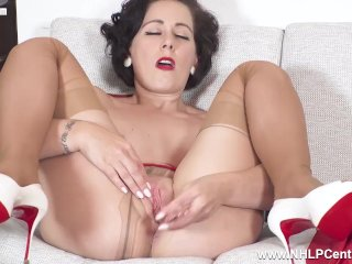Sexy Milf Belle O'Hara cums with dildo toy in pantyhose garters and heels