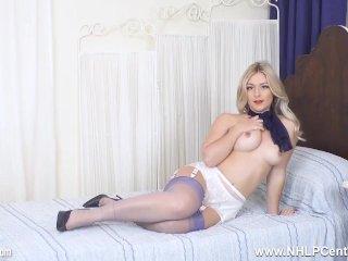 Cute busty blonde hottie Elle Hunter masturbates in stockings and stilettos