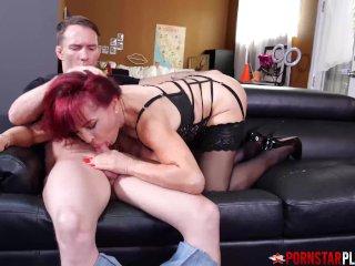 PORNSTARPLATINUM Redhead MILF Sexy Vanessa Blows Young Stud