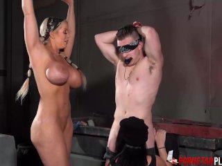 PORNSTARPLATINUM Megan Madie Riding Hard In BDSM Threesome