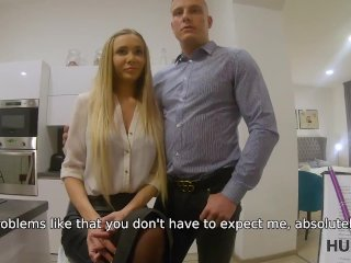 HUNT4K. Blonde in stockings and shirt is ready for sex to close deal
