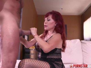 PORNSTARPLATINUM Redhead MILF Sexy Vanessa Sucks Huge Cock