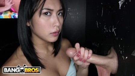 BANGBROS - Asian Mia Li Sucks A Lot Of Big Dicks Poking Through Glory Hole