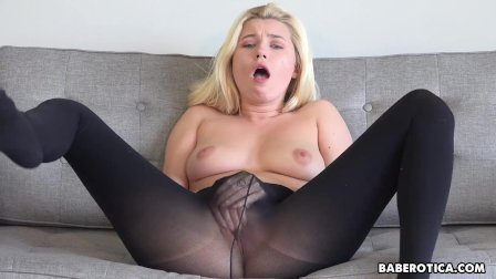 Solo blonde  Carolina Sweets is wearing nylons  in 4K