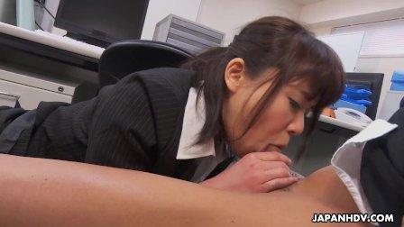Japanese secretary  Haruka Miura sucks dick  uncensored