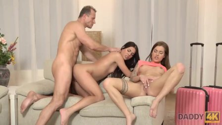 DADDY4K. Woman catches unfaithful husband fucking her slutty stepdaughters